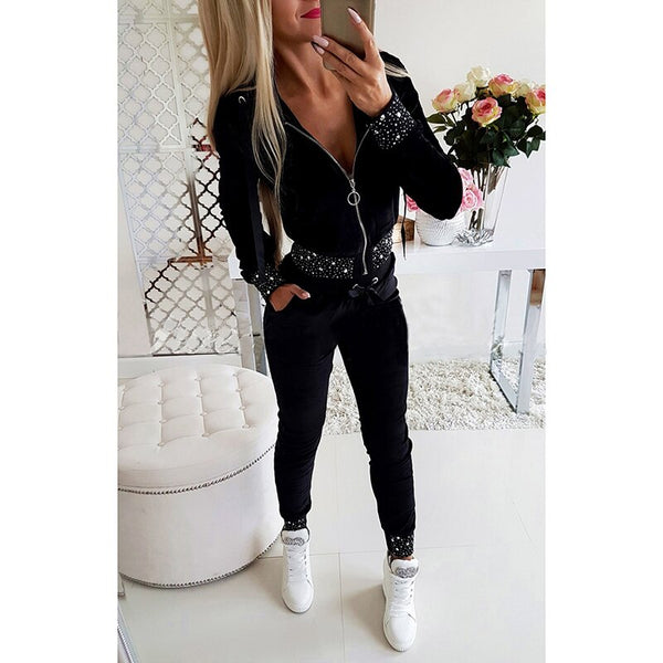 Women's Two-pieces Set Tracksuit Black Long Sleeve Pocket Zipper Jumper