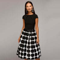 Women Vintage Dot Print A-line Party Dress O-Neck Short Sleeve Fold Elegant Mid Dress 2018 Autumn New Fashion Female Vestidos