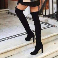 Women's Boots 2019 Autumn And Winter New Pointed Thick With Side Zipper Over The Knee Boots Elastic Boots Women's Shoes Footwear