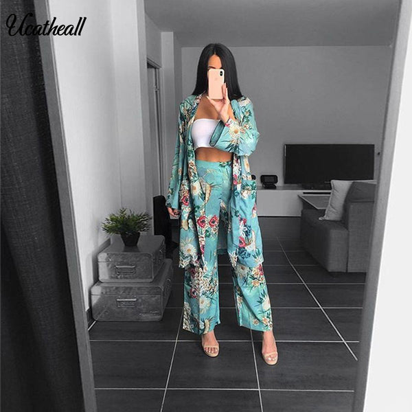 Women's Casual Floral Printed Blazer2 Pieces Set Suit V-Neck Wiped Kimono Loose Pajama Jacket +Trousers Two Piece  Suits