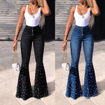 Women's High Waist Flare Jeans Tassel Denim Pants Trousers Bell-bottom