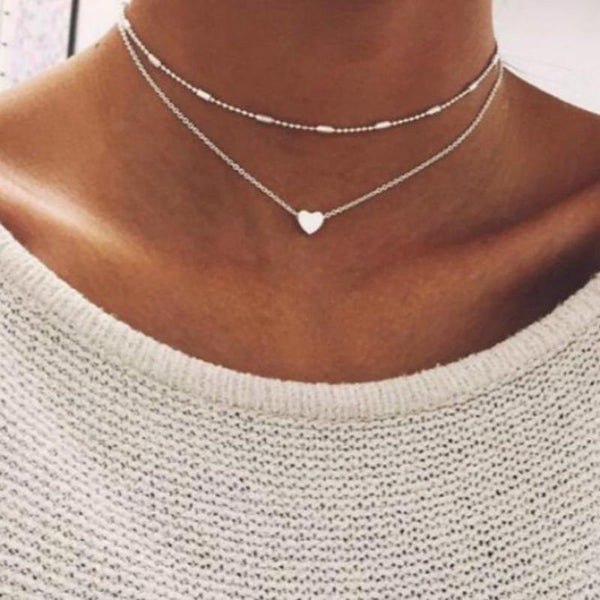 Women's Necklace Gold Color Jewelry Love Heart Necklaces & Pendants Double Chain Choker Necklaces Collar Women Jewelry Gift