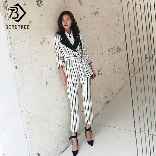 Women's Striped Pant Suit Turn down Collar Blazer Jacket Pants & Elastic Waisted  Female Suits Work Business Casual SetS91508J