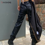 Women's Black Leather pants Pencil Straight Leg PalazzoTrousers Streetwear Fashion