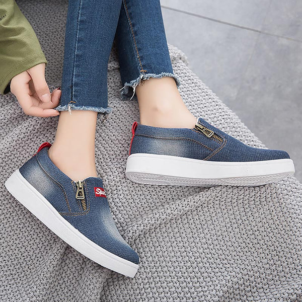 Women shoes 2019 new arrival fashion denim women casual shoes femme tenis feminino zip canvas shoes women sneakers plus size