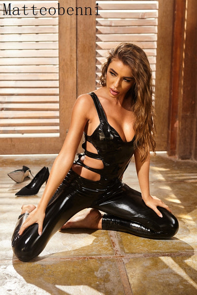 Women's Latex Catsuit Sexy leather Body Lingerie Jumpsuit with Open Crotch Zipper