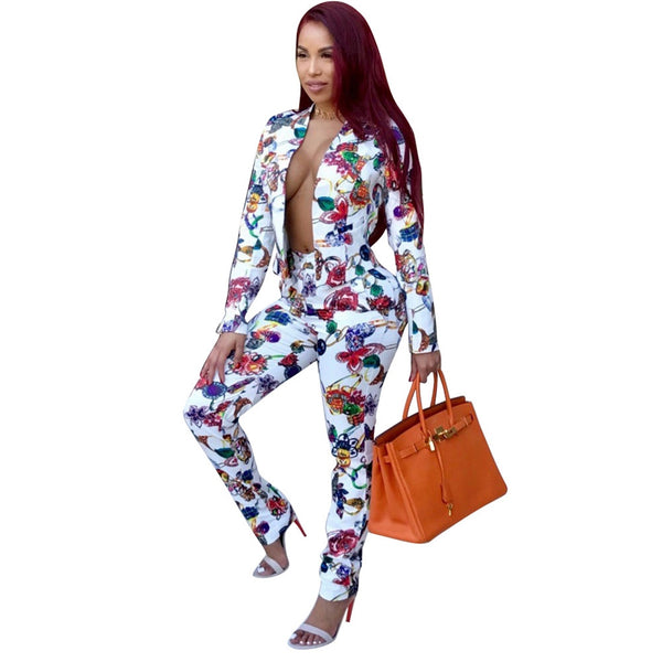 Work Fashion Pant Suits 2 Piece Set for Women Double Breasted Floral Blazer Jacket & Trouser Office Lady Suit Feminino 2018