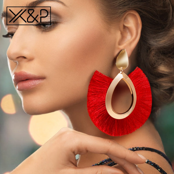 X&P Bohemian Big Tassel Drop Earrings For Women Lady Female Fringe Handmade Brincos Statement Fashion Woman Earring 2018 Jewelry