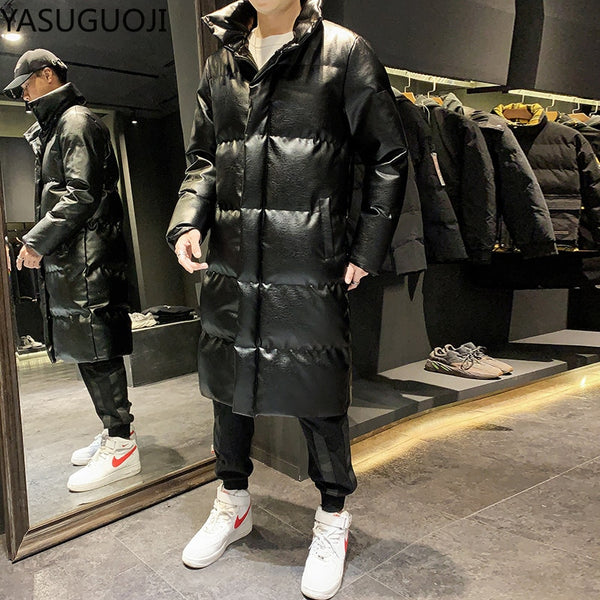 Thick Cotton Padded Long Leather Warm Winter Jacket Coat for Men