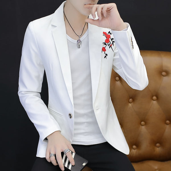 Youth Men White Suit Size 3XL Business Banquet Mens Dress Coat Fashion Slim Design Embroidered Blazer Men Jacket