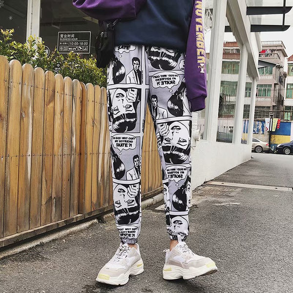 ZK  Loose Sports Casual Pants Men's Beam Foot Harem Pants Comics Printed Joggers Pants Mens Hip Hop Casual Streetwear Trousers