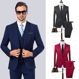 ZOGAA High Quality Men Business Suit Slim Fit Wedding Dress Suit Blazers Coat Trousers Waistcoat Trousers Big Size 5XL Suit Men