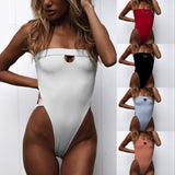 ZTVitality One Piece Swimsuit 2019 New Arrival Strapless High Leg Backless Sexy Swimwear Women Solid Bodysuit Monokini Swim Suit
