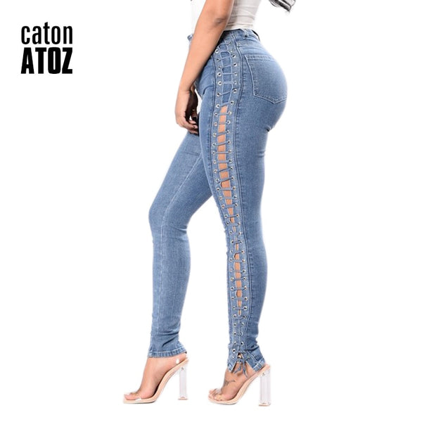 New Fashion Lace Up Jeans Women's Straight Eyelet Sexy Denim Pants