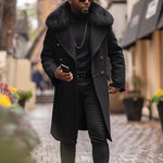 Cool Men's autumn winter black long hooded warm Jacket coat with fur