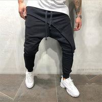 men pencil trouser Men Asymetric Layered Jogger Pants Hip Hop Streetwear Jogger Pants Casual Drawstring Close Bottom Pants