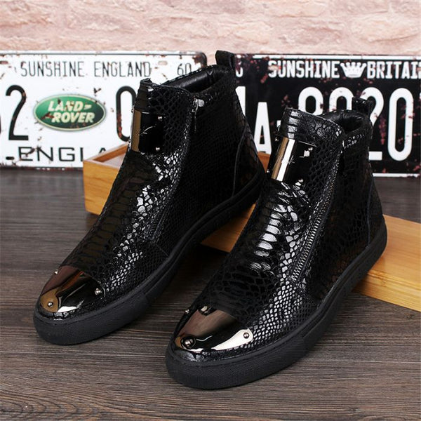 movechain Men's High Top Zipper Casual Flats Shoes Man Snakeskin Grain Genuine Leather Ankle Boots Mens Fashion Martin Boots
