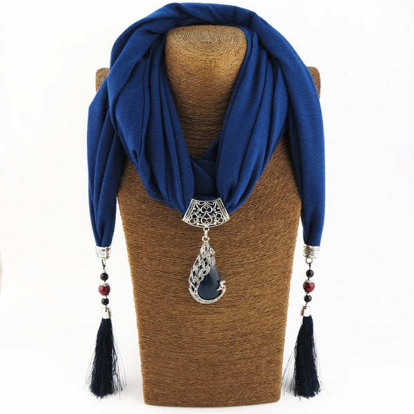women Scarf Pendant Necklace Nature Stone pendant necklace Fringe tassel Scarf Jewelry With beads Ethnic Jewelry