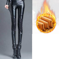 women sexy Black Splicing PU leggings plus size Thick Warm Winter pants leggings Skinny High Waist Trousers Female Lace pattern