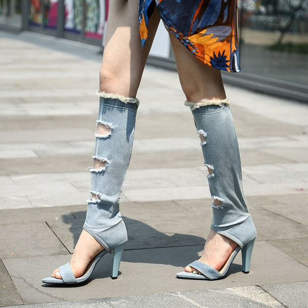 women summer boots 22.5-25cm length Personality casual fashion sandals denim mid-calf Cool boots Pointed shoes Hollow outdoor
