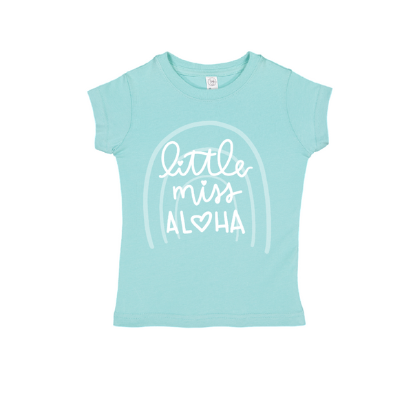 Little Miss Aloha Rainbow Tee Kids
