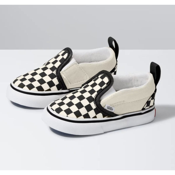 Slip On V Shoe Kids Black/White