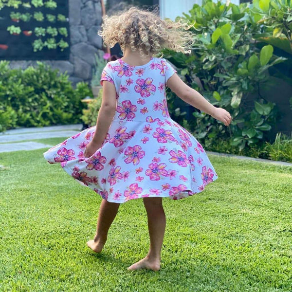Hibiscus T-Shirt Dress Kids
