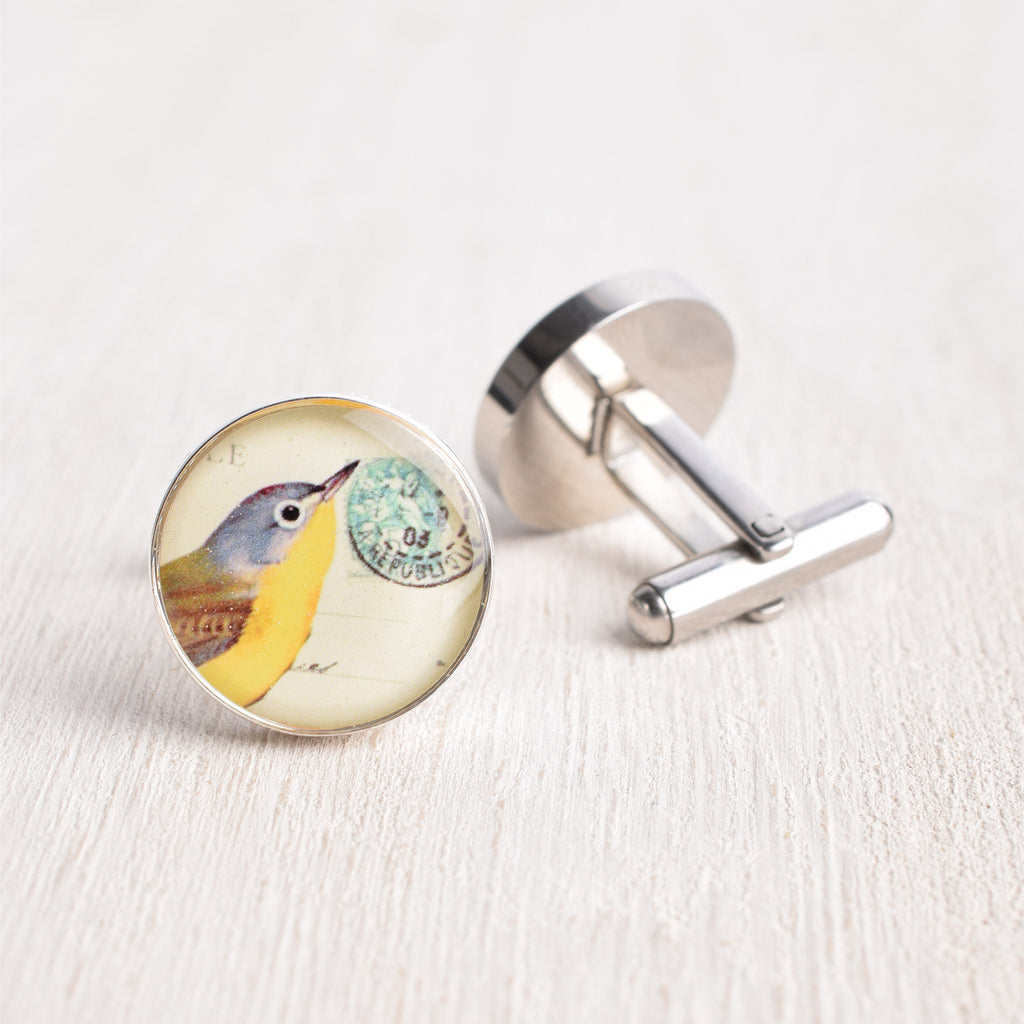 POSTAGE BIRD CUFFLINKS