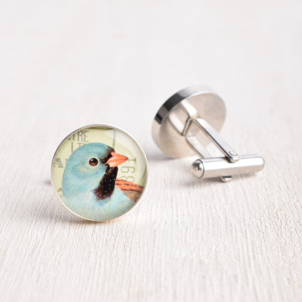 BABY BLUE BIRD CUFFLINKS