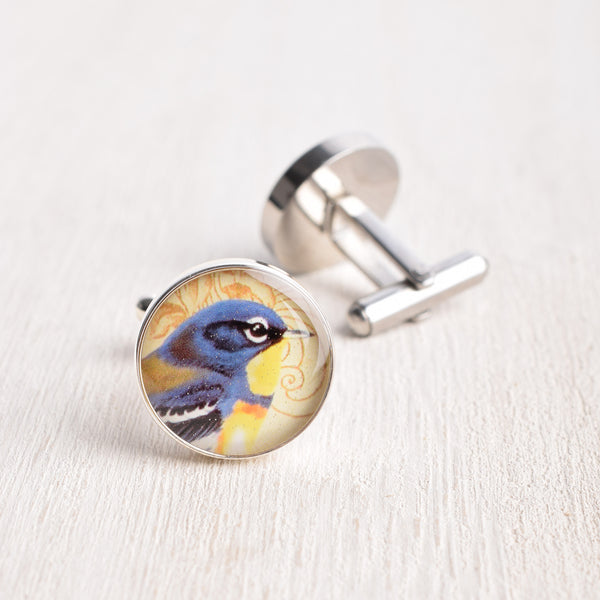 ROYAL BLUE & YELLOW BIRD CUFFLINKS