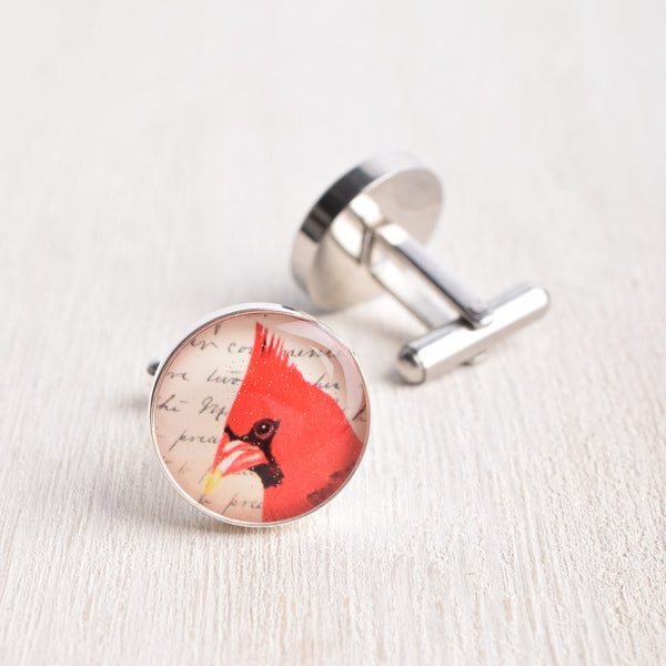 CARDINAL BIRD PROFILE CUFFLINKS
