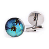 BLUE SKY PALM TREE CUFFLINKS
