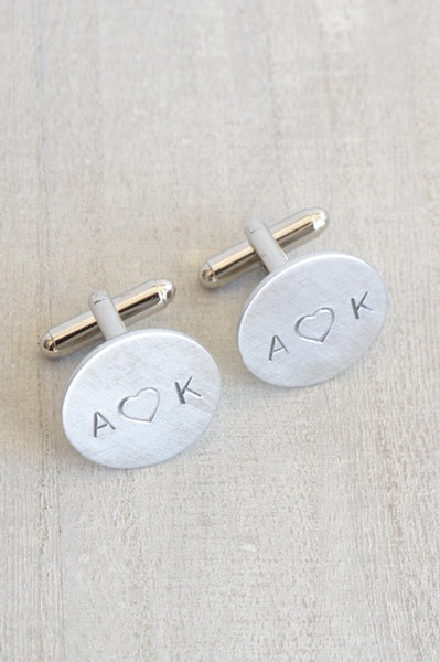 Personalized hand stamped heart cufflinks (duplicate of