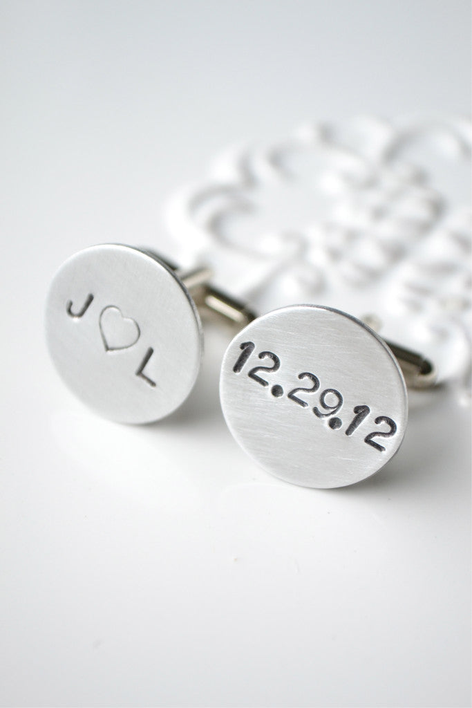 Personalized hand stamped heart cufflinks (duplicate of 'initial heart cufflinks')