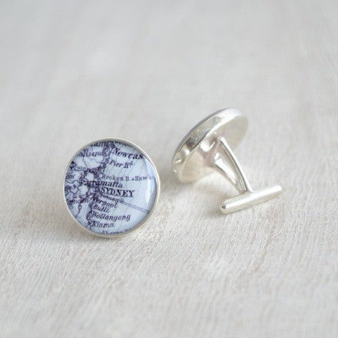 Custom Vintage Map Cufflinks