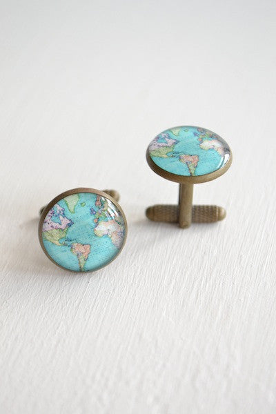 Vintage Brass World Map Cufflinks