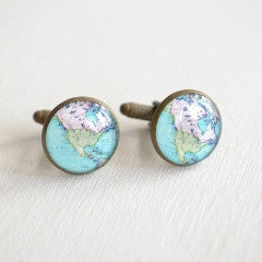 Vintage Brass North America Map Cufflinks