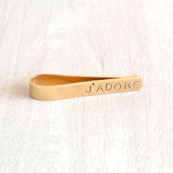 J'ADORE Stamped Brass Tie Bar