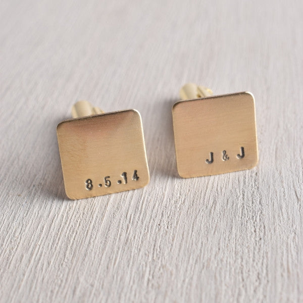 PERSONALIZED DATE AND INITIAL SQUARE CUFFLINKS
