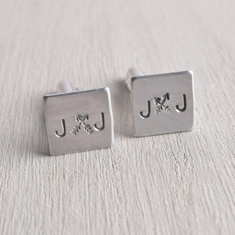 PERSONALIZED INITIAL CROSSED ARROW CUFFLINKS