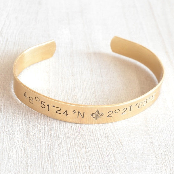 Personalized Coordinates Stamped Cuff Bracelet