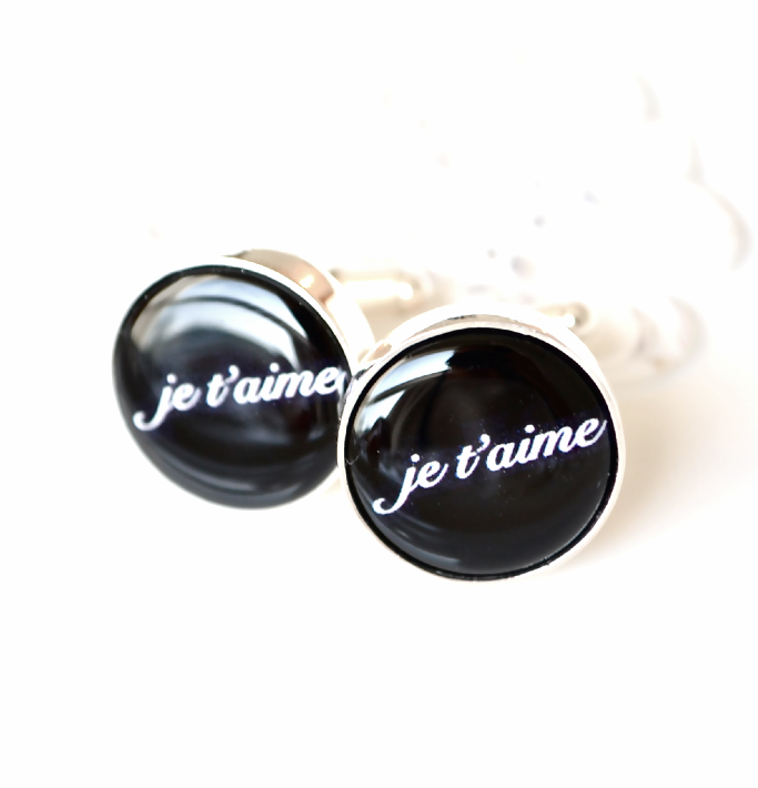 je t'aime - I love you in french cufflinks