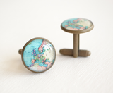 Vintage Brass Europe Map Cufflinks