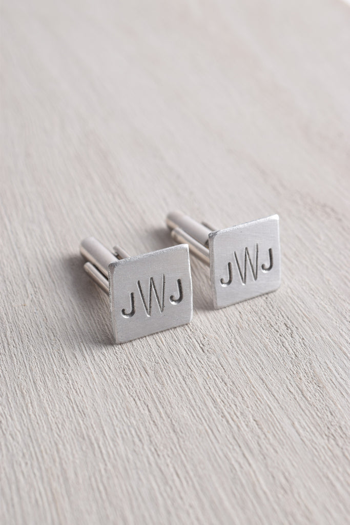 WHITE TRUFFLE MONOGRAM SQUARE CUFFLINKS