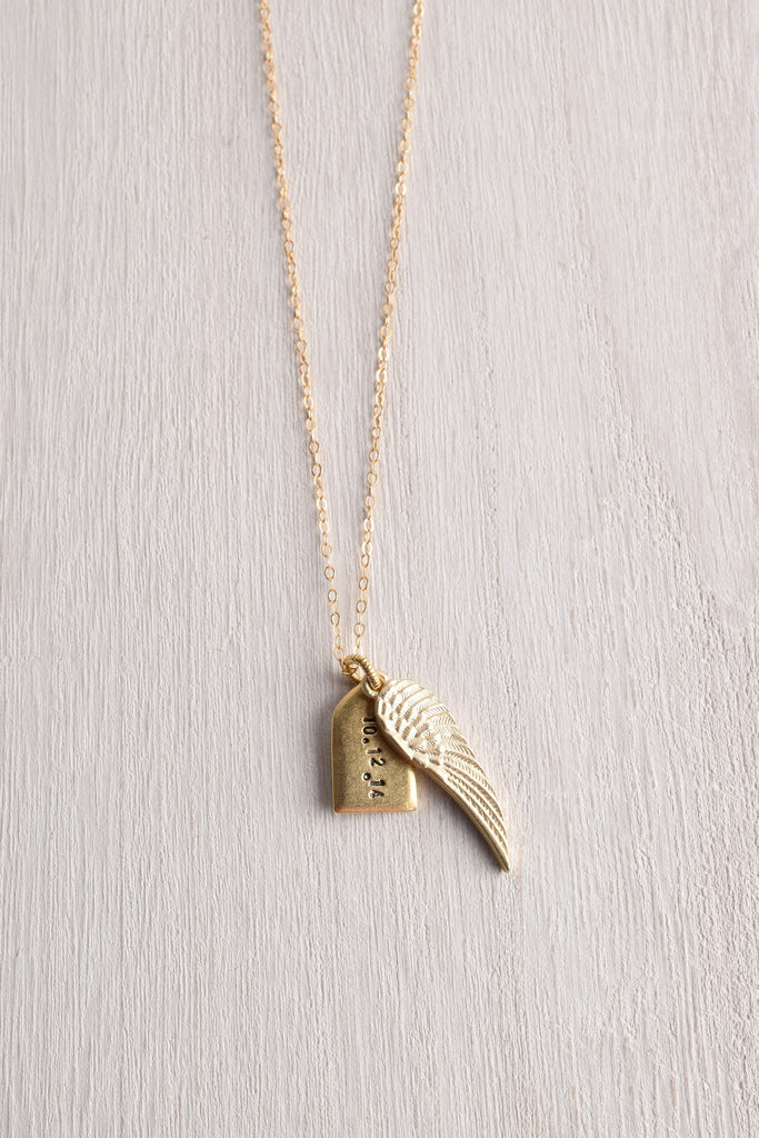 WHITE TRUFFLE PERSONALIZED TAG & WING NECKLACE