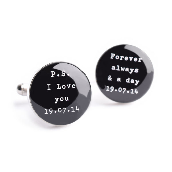 P.S. I LOVE YOU - FOREVER ALWAYS & A DAY CUFFLINKS