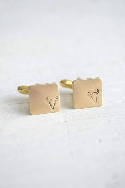 Bull head stamped cufflinks (BB105)