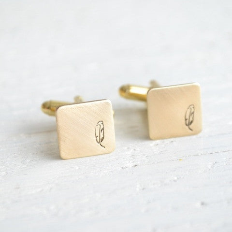 Feather Stamped Cufflinks