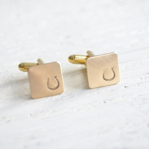 Lucky Horse Shoe Stamped Cufflinks