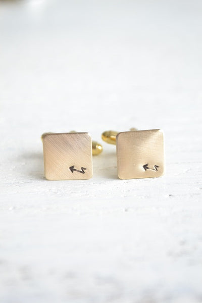 Jagged Arrow stamped boho chic cufflinks (BB109